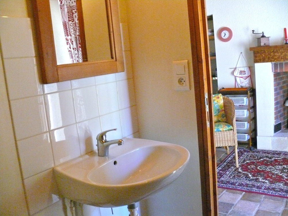 Petite salle de bain avec douche, WC et lavabo